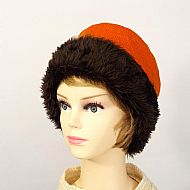 Harris tweed orange hat with faux fur trim