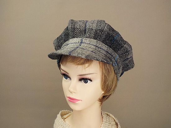 grey tartan baker boy cap from harris tweed to wear range by roses workshop