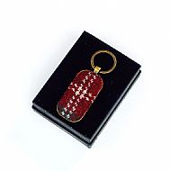 Harris tweed keyring rectangular dark red tartan