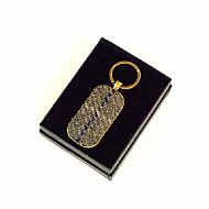 Harris tweed keyring rectangular olive green blue tartan