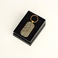 Harris tweed keyring rectangular olive herringbone