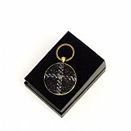 Harris tweed keyring round black tartan