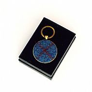 Harris tweed keyring round blue red tartan