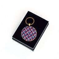 Harris tweed keyring round pink blue magenta