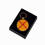Harris tweed keyring round yellow red tartan