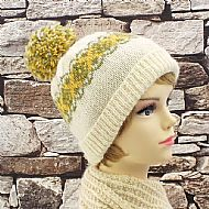 Exmoor Horn bobble hat green and yellow