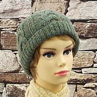 Green cable design beanie