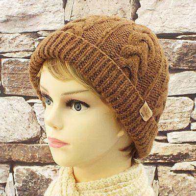 castlemilk moorit knitted wool beanie hat by roses workshop