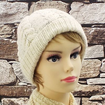 natural cream aran cable beanie hat by roses workshop