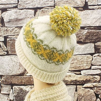 multicoloured bobble on british wool beanie hat by roses workshop