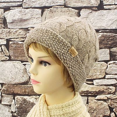 british falklands wool fawn cable beanie by roses workshop