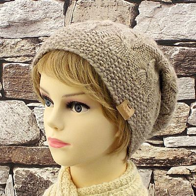 slouchy style knitted wool beanie by roses workshop
