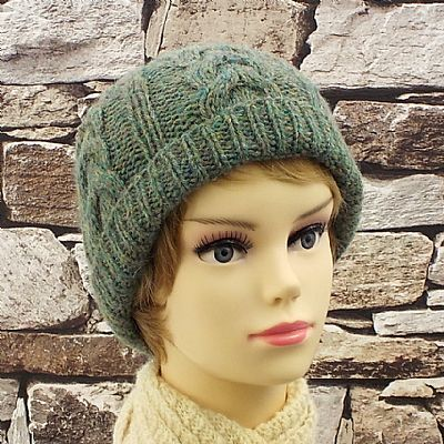 british wool cable beanie in lichen green by roses workshop