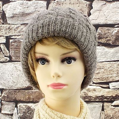 grey shetland wool cable beanie by roses workshop