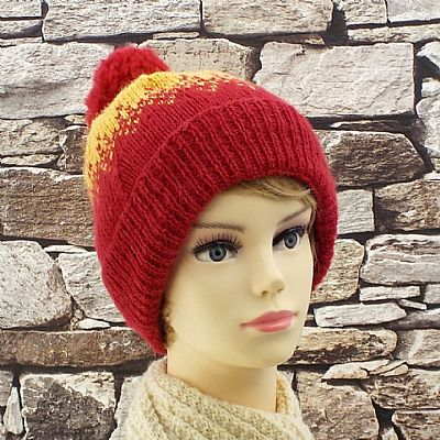 red and yellow bobble hat british exmoor horn wool from roses workshop