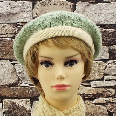 masham wool cream and green knitted beret by roses workshop