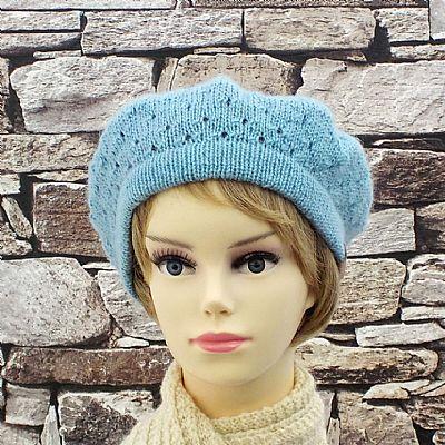 british wool beret sky blue wensleydale by roses workshop