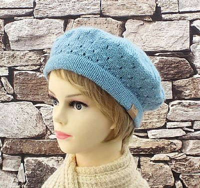 lacy texture wensleydale wool knitted beret by roses workshop