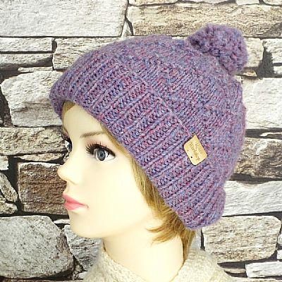 lilac diamond pattern bobble hat by roses workshop