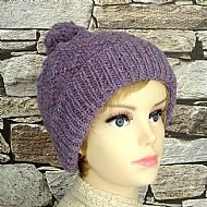 Lilac diamond pattern ladies bobble hat