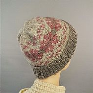 Fairisle beanie pink and grey