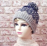 Fairisle bobble hat blue grey