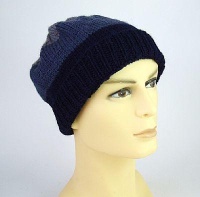 blue grey stripe wool beanie