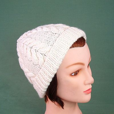 cream aran cable beanie british wool by roses workshop