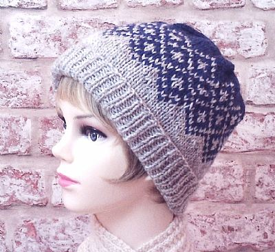 british wool grey and blue fairisle beanie by roses workshop