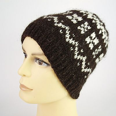 hebridean and corriedale beanie with brim turned down
