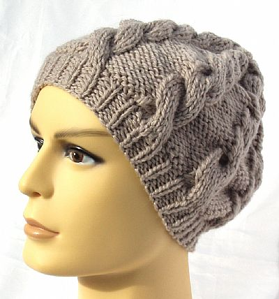grey cable mens beanie hat from roses workshop