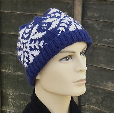 blue and white snowflake fairisle beanie