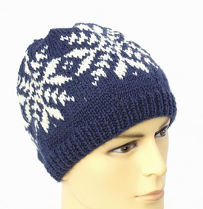 navy and white fairisle beanie