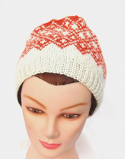 hand knit fairisle beanie hat