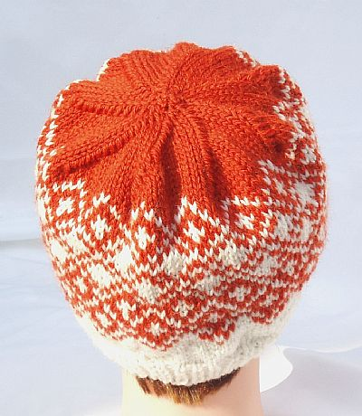 back view of fairisle beanie
