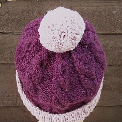 back view of purple hat showing bobble