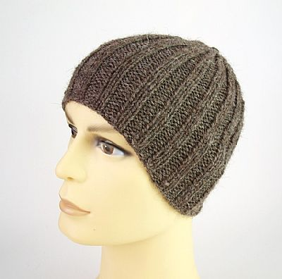 grey brown ribbed herdwick beanie