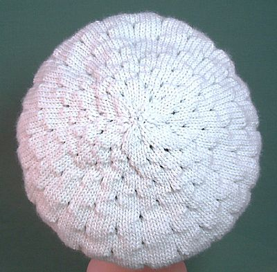 back of lacy knit beret cream british falklands wool