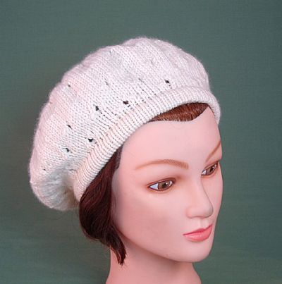 lacy knit beret natural cream british wool from roses workshop