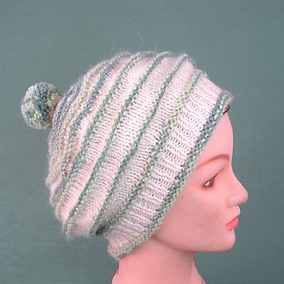 pure alpaca beret in green and white by roses workshop