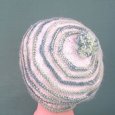 back of ridged beret in green and white alpaca showing pompom