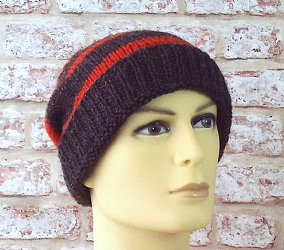 jacobs wool striped beanie in brown and orange by roses workshop