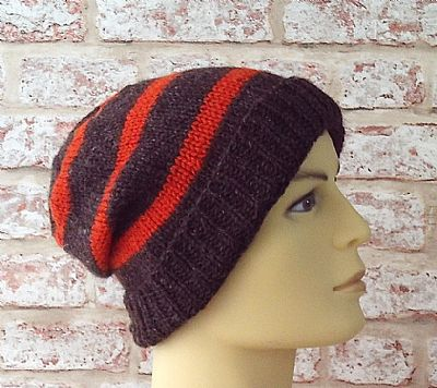 orange stripe detail on jacobs wool beanie by roses workshop
