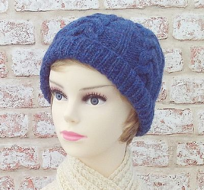 blue cable design british wool beanie by roses workshop