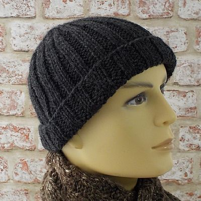 charcoal grey british wool mens beanie hat by roses workshop