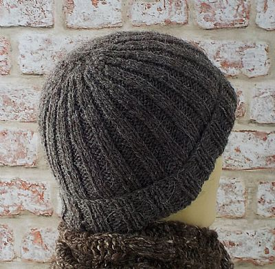 detail of ribbed design for herdwick beanie hat by roses workshop