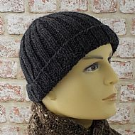 Men's grey rib wool beanie