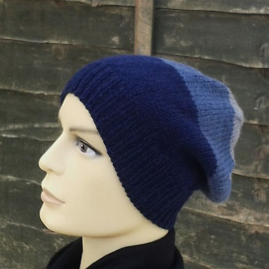 slouchy beanie in blue and grey stripes by roses workshop