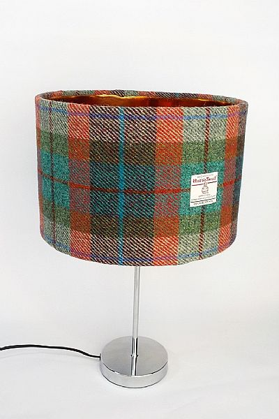 harris tweed brick and turquoise tartan lampshade with gold inside by roses workshop