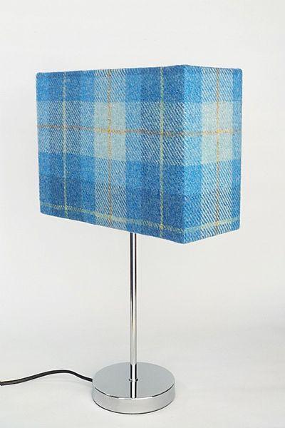 blue plaid harris tweed lamp shade by roses workshop